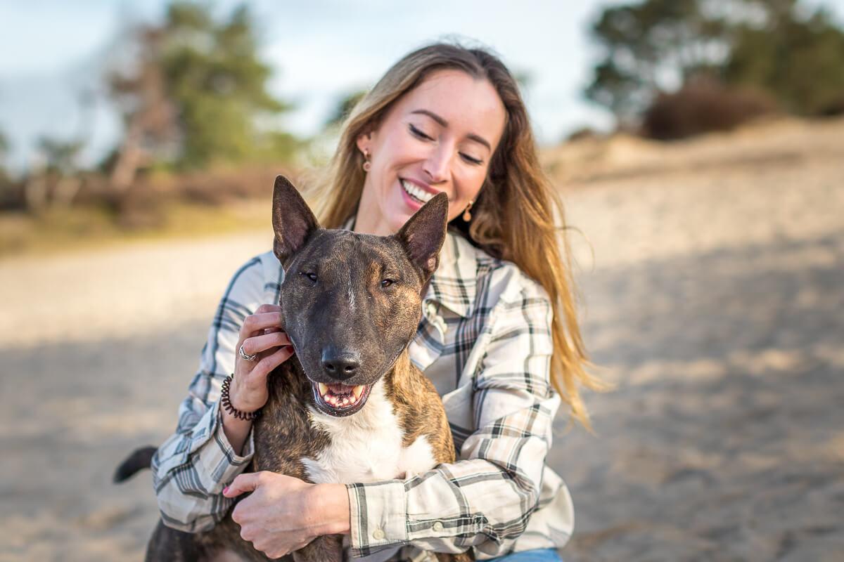 Fotoshoot met hond mini bull terrier soesterduinen